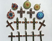 "Lot 17 Translucent Pendants - Crosses and Circles - Multicolored ""Stain Glass"" Look"