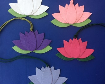 Leather Lotus Flower Bagcharms on Colored Cord