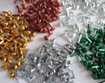 7mm Glitter Crafting Brads  x 40 Available in 5 Glittering Colours