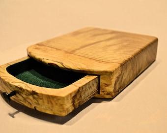 Hidden compartment oak ring box