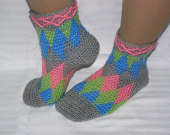 Harlequin socks crochet PDF pattern - INSTANT DOWNLOAD