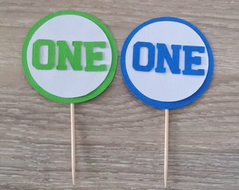 First Birthday Cupcake toppers,12  Age Cupcake Toppers, 1st Birthday Topper, Number Cupcake Toppers , Blue and Green, cake topper birthday