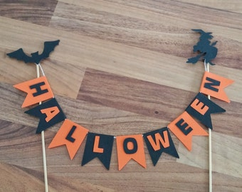 Halloween Cake Bunting, Halloween Cake Topper, Witch Cake Topper, Bat Cake Topper, Halloween Decoration