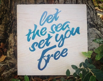Hand Lettered Beach Quote Wood Sign