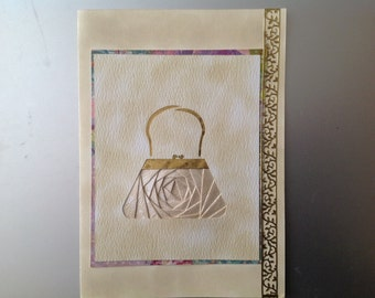 Iris Folded Brocade Evening Bag in Cream with Gold Accents, blank insidet