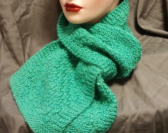 Teal Merino Wool Knit Scarf
