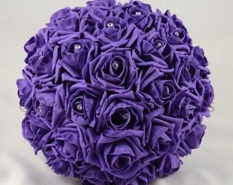Artificial Wedding Flowers, Purple Brides Bouquet Posy