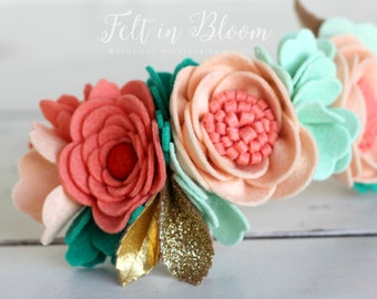 "LUXE Felt Floral Crown ""Melon Pop"" - Felt Flower Headband / Floral Crown / Felt Flower Crown"
