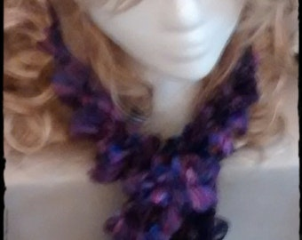 Ruffled sparkly purple scarf