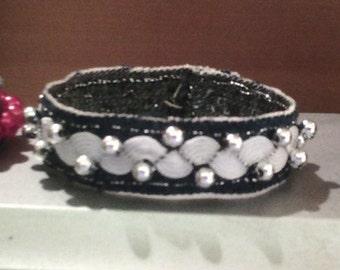 Denim bracelet with silver beads