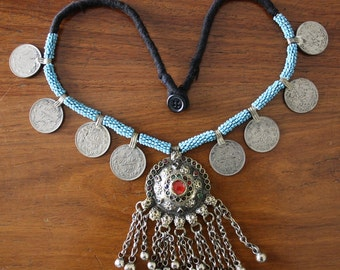 Afghan Kuchi bib necklace Valentine's gift Antique Kuchi pendant vintage jingle bells coins necklace, Gypsy Hippie Boho Bohemian necklace