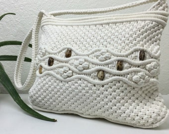 70's Macramé Cream Shoulder Bag