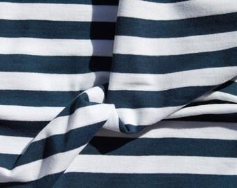 Single Jersey Cotton, 4% Lycra - Stripes White + Dark Blue 13 mm