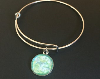 Hand Painted Mint Green and Blue Resin Bangle Bracelet - Expandable Bangle Bracelet