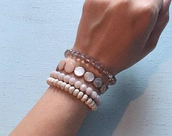 Rose Bracelet Stack / Rose and Cream Stacking Set / Layering Rose Bracelet Stack / Shell and Crystal Bracelet Stack / Stretch Bracelet Stack