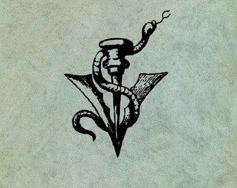 Snake Wrapped Around an Arrow Spear Head - Antique Style Clear Stamp