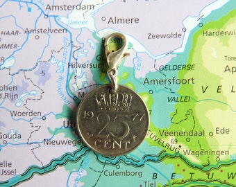 Netherlands quarter coin charm in birth year 1960 - 1961 - 1962 - 1963 - 1964 - 1965 - 1966 - 1967 - 1968 - 1969