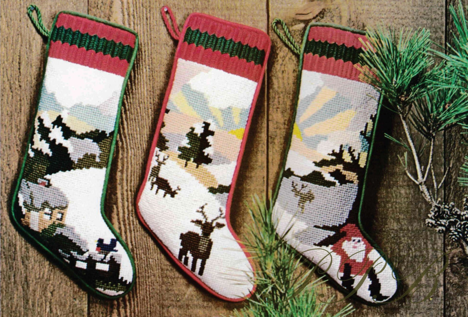 Christmas Stockings Needlepoint Patterns 3 Different