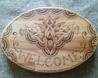 Pyrography lotus flower welcome wood sign. Ideal house warming gift, welcome sign, unique house sign, solid wood wall plaque