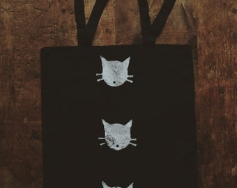 Tote bag / / cat (black)