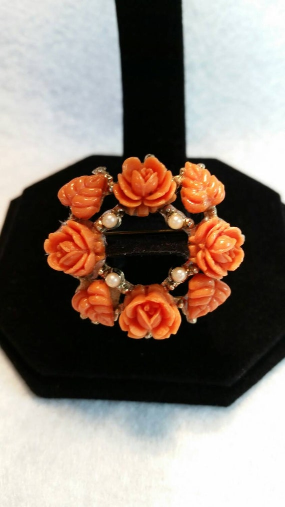 Vintage Faux Coral and Imitation Pearl Brooch