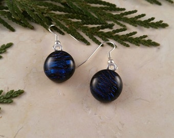 Fused Glass Dangle Earrings, Dichroic Glass with Deep Blue and Purple 16124