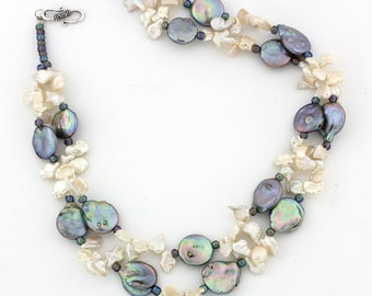 Keshi and Coin Pearl Necklace  KP3116