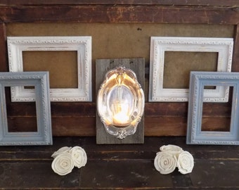 White and Gray Frame Set / Shabby Chic Picture Frames