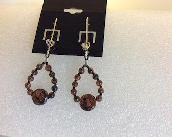 Blue, Brown Goldstone earrings,S.S.