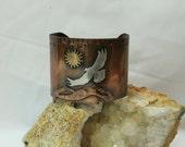Mixed Metals Copper Cuff Bracelet
