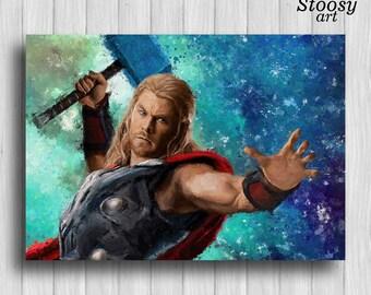 thor print marvel poster avengers wall art super hero art