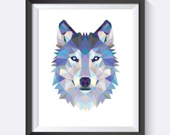 Wolf Wall Art wolf print wolf art wolf wall art geometric wolf print