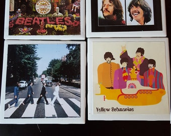 Handmade tile Beatles coasters