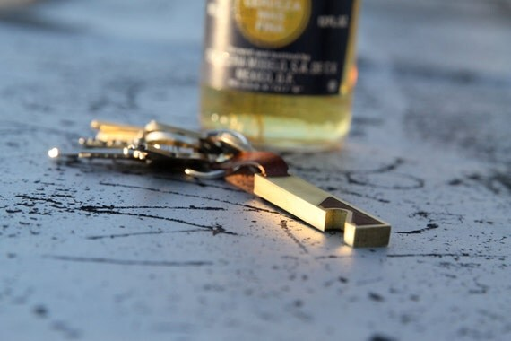 Bottle Opener Keychain Tool - EDC - Modern Keychain - Brass & Walnut - Husband Gift - Boyfriend  Gift- Valentine's Day Gift