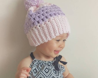 Pom Pom Puff Beanie for Babies and Toddlers -  Pink and Lavender