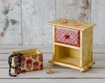 Valentines Day Gift - Vintage Jewellery Box - Mini Chest of Drawers - Keepsake Box - Trinket Drawers
