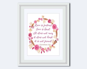 Love is patient - 1 Corinthians 13:4 - Boho print - Bible verse - Love is print - scripture pink print - gift for her - bohemian art print