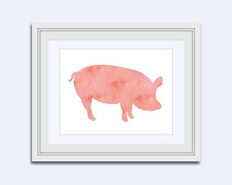 pig art for kids - gift for kids - pig art print - pink pig print - farm animal print - pig watercolor print - nursery print - art download