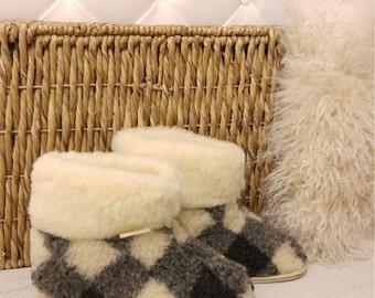 Hard Sole Boots Slippers 100% Pure Sheep Wool Cozy Foot Sheepskin Womens