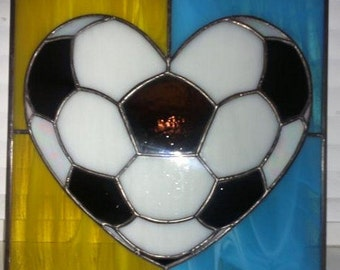 Love for football / Stained Glass / Suncatcher Design / Handcrafted Glass Sun Catcher