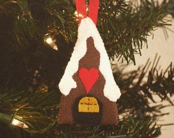 Gingerbread House Christmas Tree Ornaments - Felt