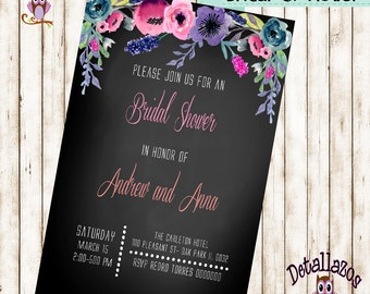 Invitation bridal shower wathercolor