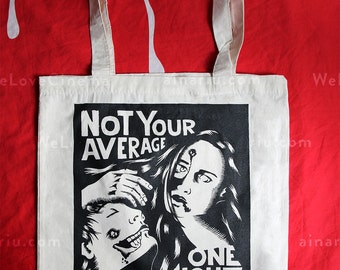 Market tote bag - Zombies screen print - canvas cotton hand drawn illustration