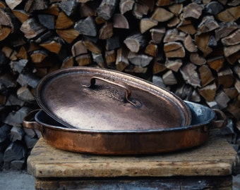 Handmade copper tinned saucepan