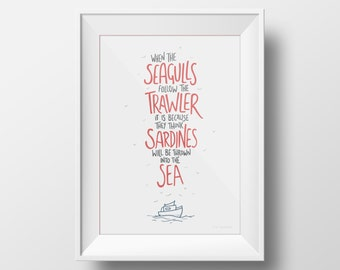 Eric Cantona 'Seagulls' Quote Print