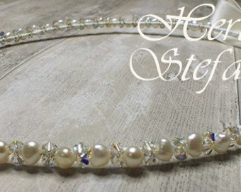 Freshwater Pearl and Swarovski Crystal Stefana - Summer Dream
