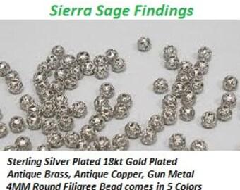 Filigree Bead 4mm Round Sterling Silver