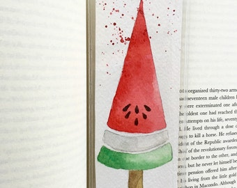 Watermelon popsicle bookmark
