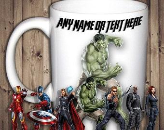 Personalised Avenger Heros Mug Iron Man Hulk Capitan America Black Widow Thor Barton Fury Birthday Christmas Gift Present Tea Cup
