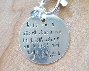 Hand stamped keyring with fairytale type quote,Fairytale gift,Handmade for her